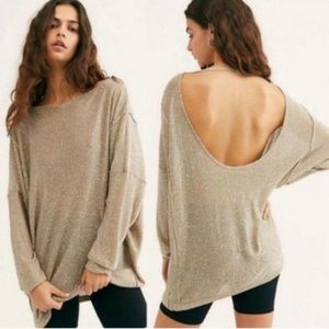 Free People All That Glitters Tan Sequin Sweater